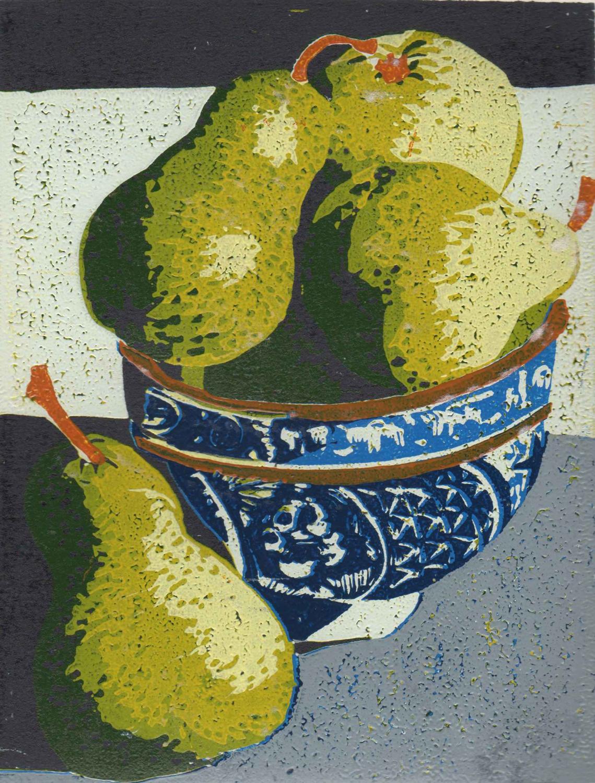 10. Helen Clarke,  Pears , reduction linocut, $250