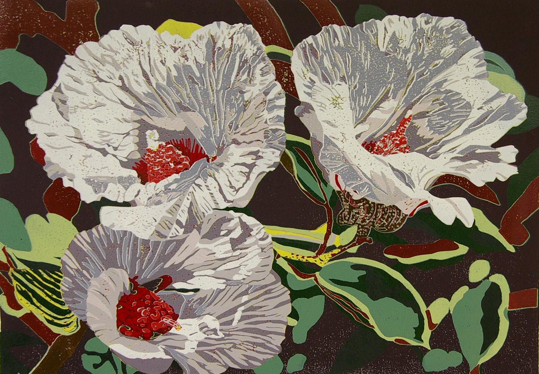 16. Helen Clarke,  Bush Hibiscus , reduction linocut, $970
