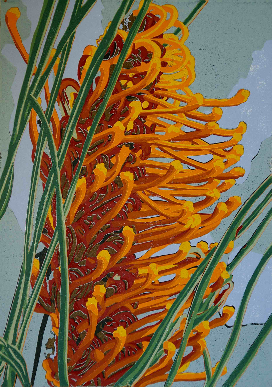 20. Helen Clarke,  Orange Grevillea , reduction linocut, $970