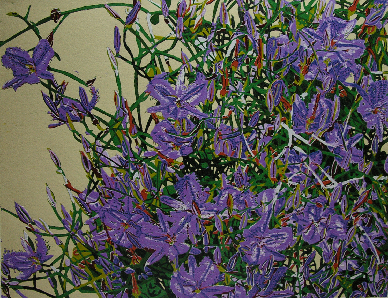 26. Helen Clarke,  Lilies at Eradu , reduction linocut, $450