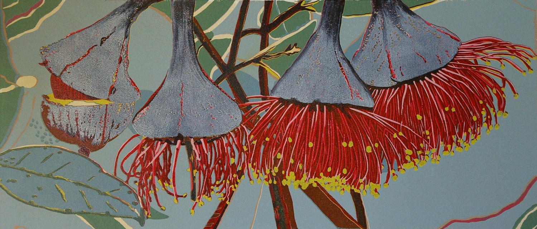 30. Helen Clarke,  Pear-fruited Mallee , reduction linocut, $990