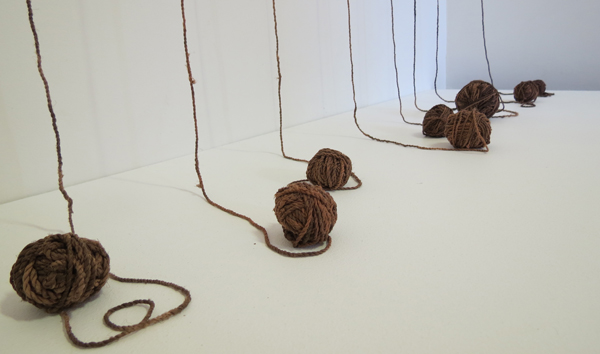 7. Deb McArdle,  Making the Materials  (detail), silk fabrics, plant dyed, twined and knotted, NFS