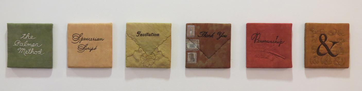 15. Diane Savona,  This Too Shall Pass - Penmanship,  mixed media, $230 per tile
