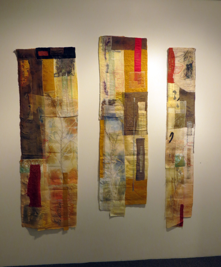 19. Cas Holmes,  Exposition from a Tea Garden  (triptych), paper, textiles, machine and hand stitched, $5000 set of 3 or individually
