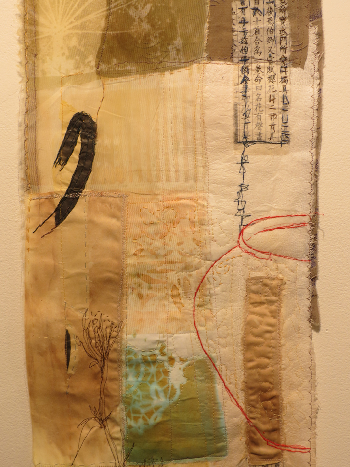 19. Cas Holmes,  Exposition from a Tea Garden  (detail 2), paper, textiles, machine and hand stitched