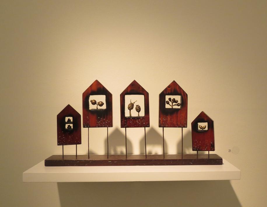 21. Christine Atkins,  Fire Scale , timber, bronze, $475