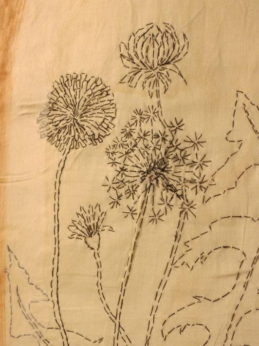 32. Cas Holmes,  Dent du Lion  (detail 2), paper, textile, machine and hand stitched