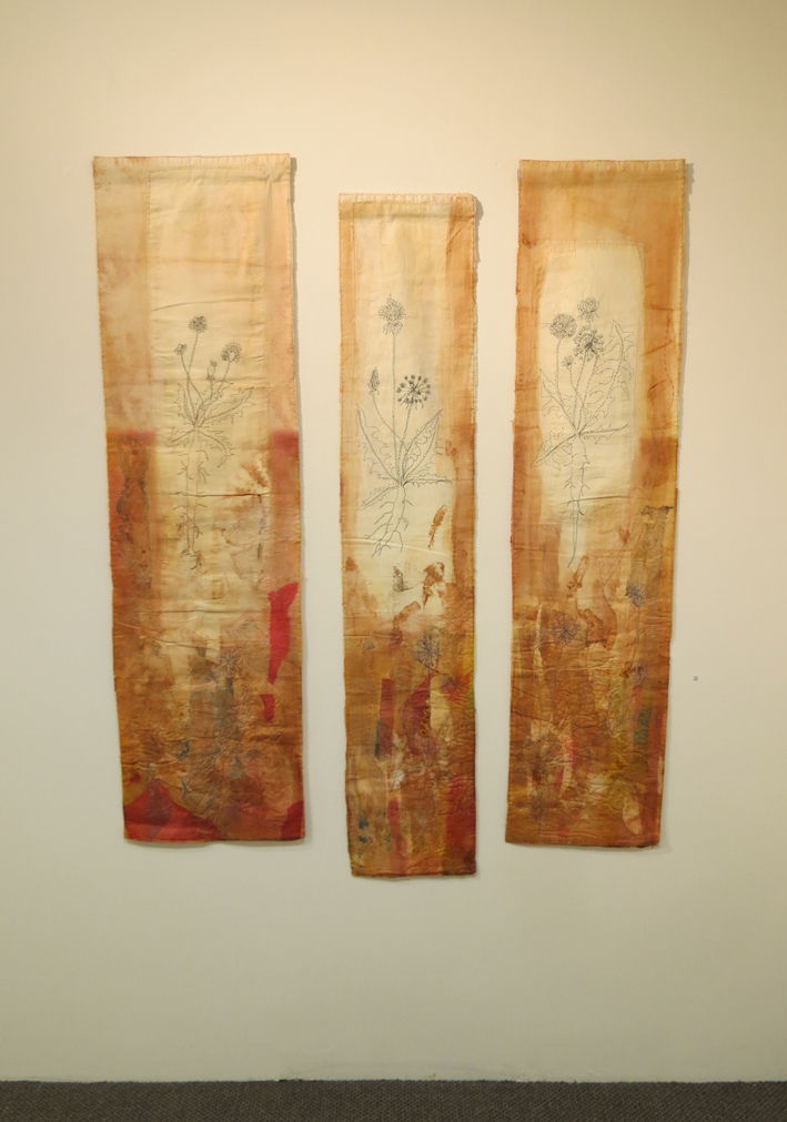32. Cas Holmes,  Dent du Lion  (triptych), paper, textile, machine and hand stitched, $5000 set of 3 or individually