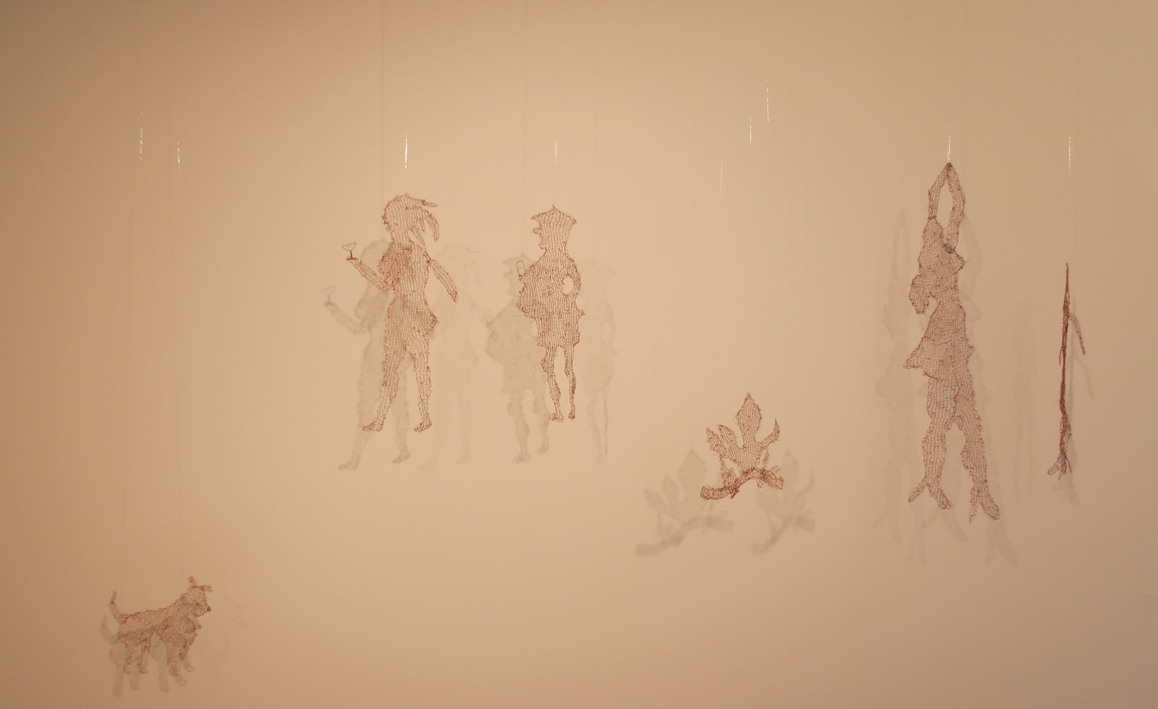 1-6. Campfire Party, knitted copper wire shadow characters, $850 set of 6 or individually priced
