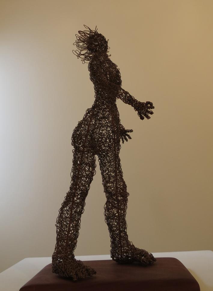 7. Cathy Rankin, Walking Woman, entwined copper wire, jarrah, $450