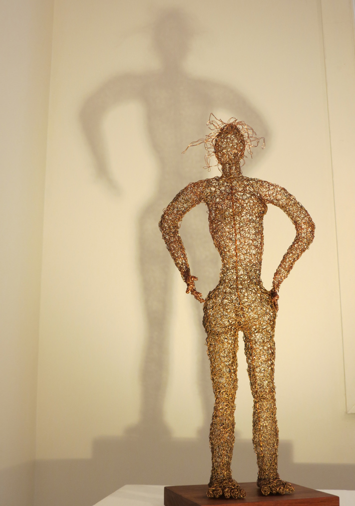12. Cathy Rankin, Standing Woman, entwined copper wire, jarrah, $600