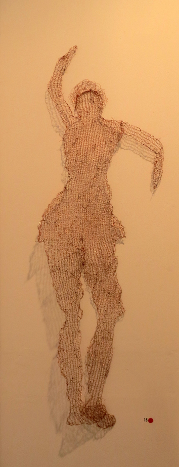 15. Cathy Rankin, Dancing Woman, knitted copper wire, $175