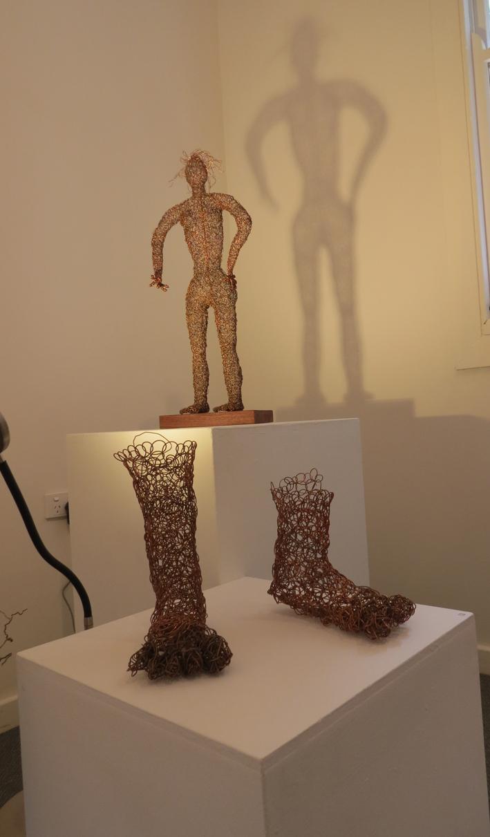 12, 13. Cathy Rankin, Standing Woman, copper wire on jarrah, $600, Copper Feet, WIP copper wire, POA