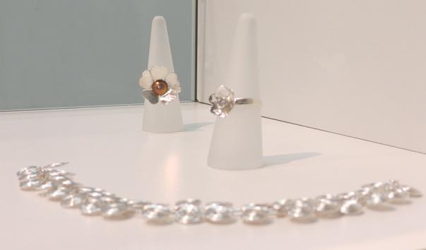10.  Primrose ring , sterling silver, niobium $145  11.  Valentine , sterling silver, cubic zirconia $135  12.  Egyptian Spiral , sterling silver bracelet $200