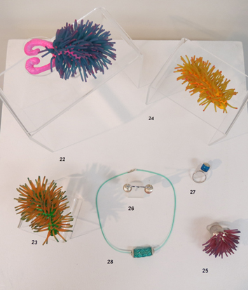 22, 23, 24.  Nudibrooch i, ii, iii  $220 each,  25.  Anemone  ring POA  26.  Red Lantern  earrings $95  27.  Blue Lantern  ring $110  28.  Green Gooshy  neck piece $100