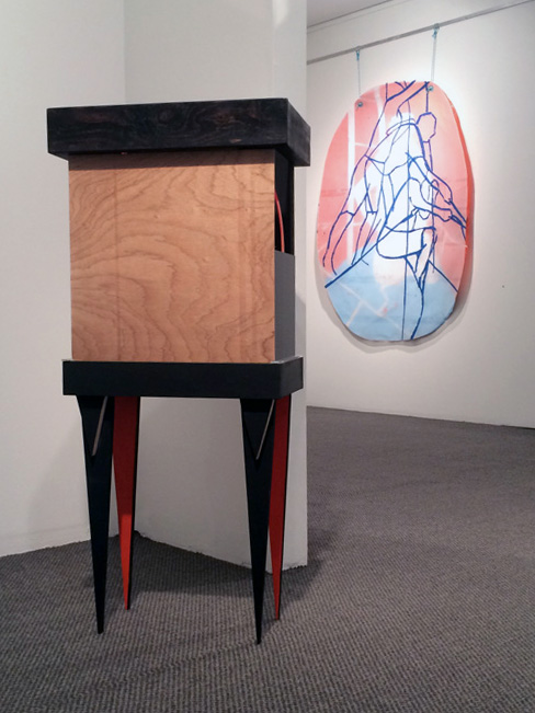 """16. Carly Lynch,  Project Endeavour (after Sanders) , Mixed-media installation, dimensions variable, POA  20. Jazmin Mckechnie,  Vantage point: """"the extreme always seems to make an impression"""" , Found object, wood, acrylic, enamel paint and mirror, 80 x 40 x 30cm, $700"""