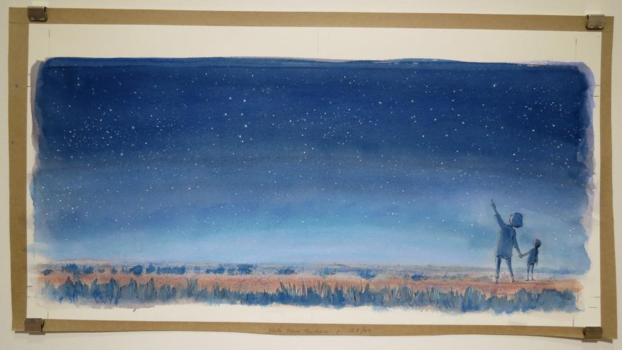 5.  Nan and Eve Watch the Universe  by Karen Blair, pencil, watercolour, pastel, charcoal pencil, NFS
