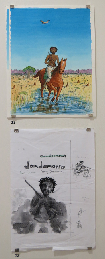 11, 12. Cover for  Jandamarra  and preliminary artwork by Terry Denton, watercolour on paper, pen, NFS