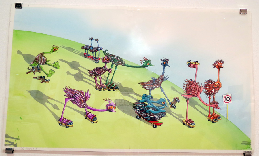 31.  10 Clumsy Emus  by Wendy Binks, acrylic on paper, NFS