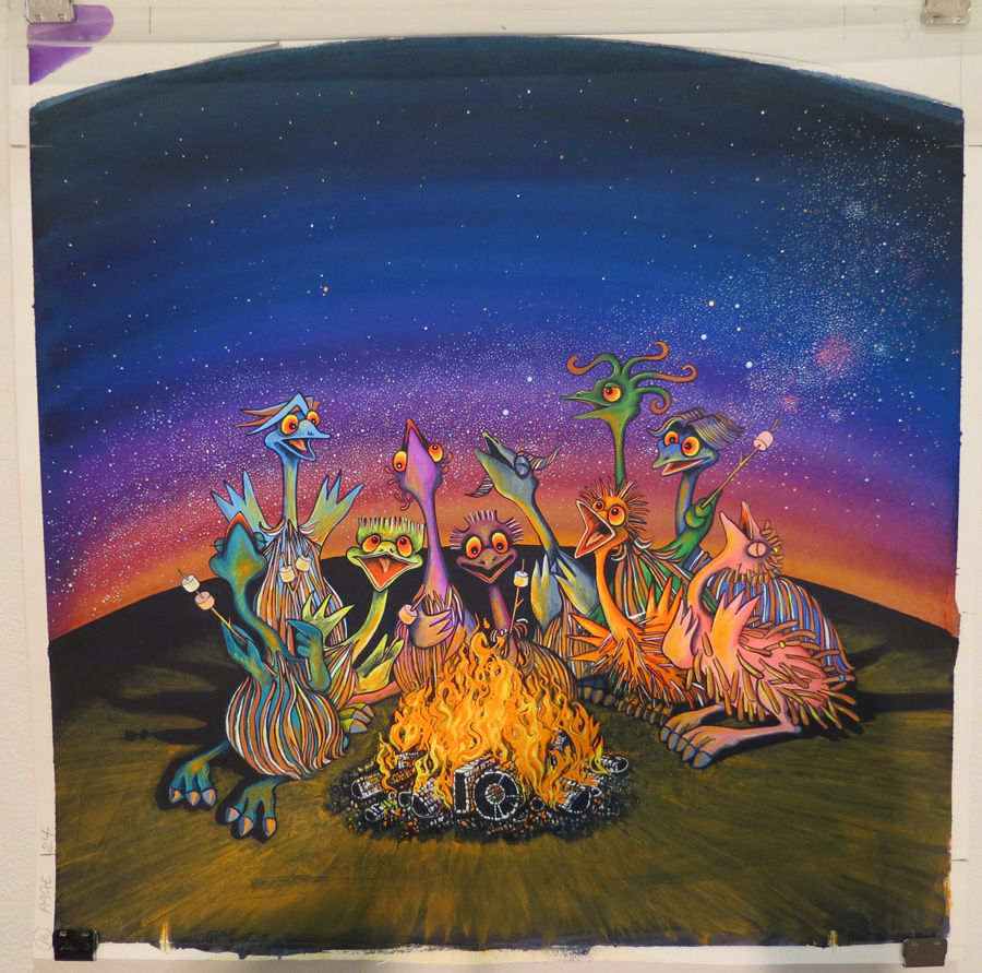 32.  Campfire Emus  by Wendy Binks, acrylic on paper, NFS