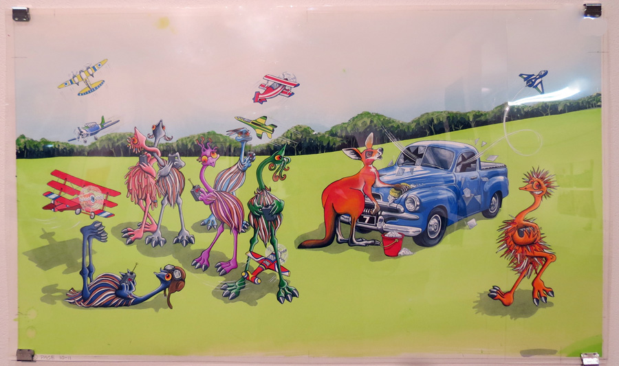 35.  7 Clumsy Emus  by Wendy Binks, acrylic on paper, NFS