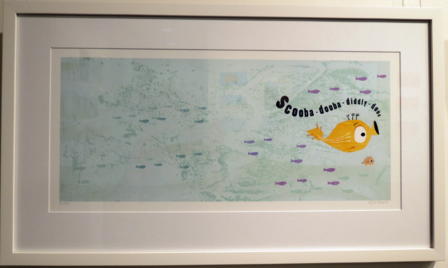 39.  Spread 1  of  Fish Jam  by Kylie Howarth (author and illustrator), mixed media ltd ed print, $385