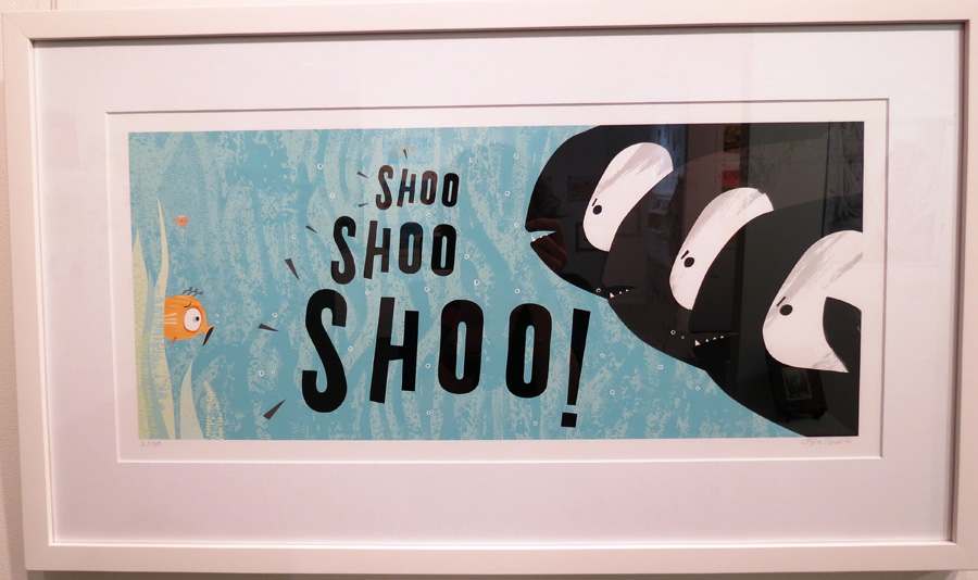 41.  Spread 8  of  Fish Jam  by Kylie Howarth (author and illustrator), mixed media ltd ed print, $385