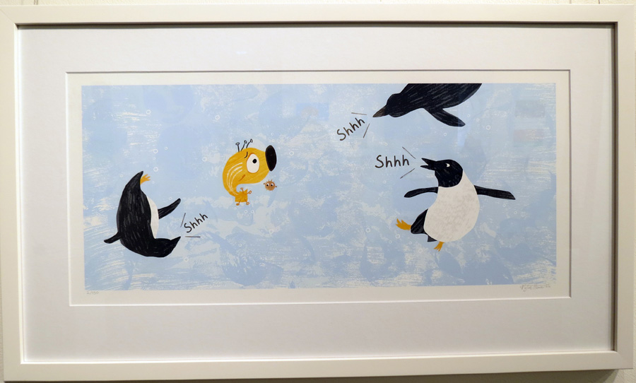 40.  Spread 1  of  Fish Jam  by Kylie Howarth (author and illustrator), mixed media ltd ed print, $385