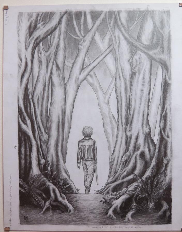 44.  The Boy Walks  by Den Scheer, graphite on card, $430