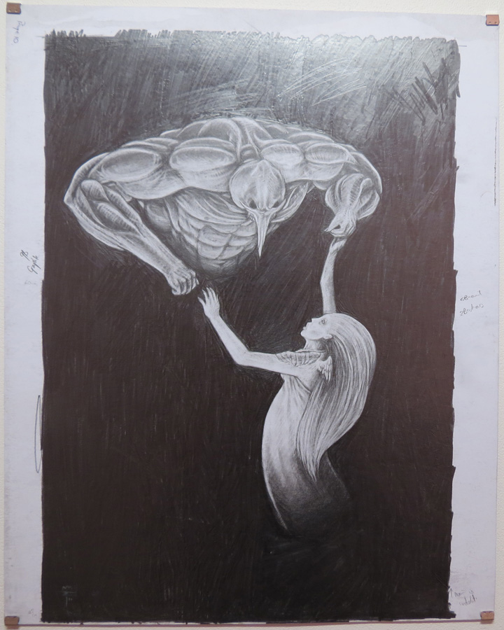 45.  The Battle of Good and Evil Begins  by Den Scheer, graphite on card, $430