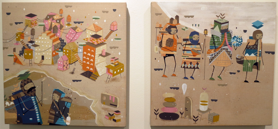 49 and 50.  Page 9 and 10  by Kyle Hughes-Odgers, acrylic on Belgian linen, NFS