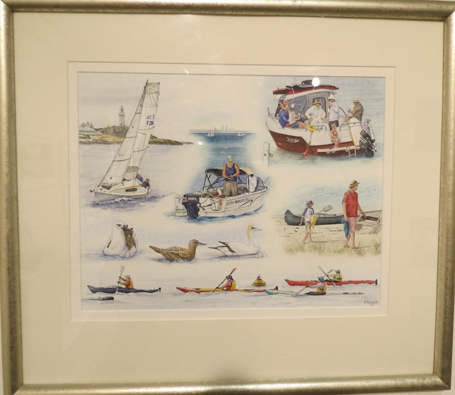 65.  Boating at Rottnest  by Patricia Negus, watercolour, $550