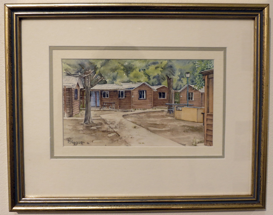 67.  Caroline Tomson Cabins  by Patricia Negus, watercolour, $250