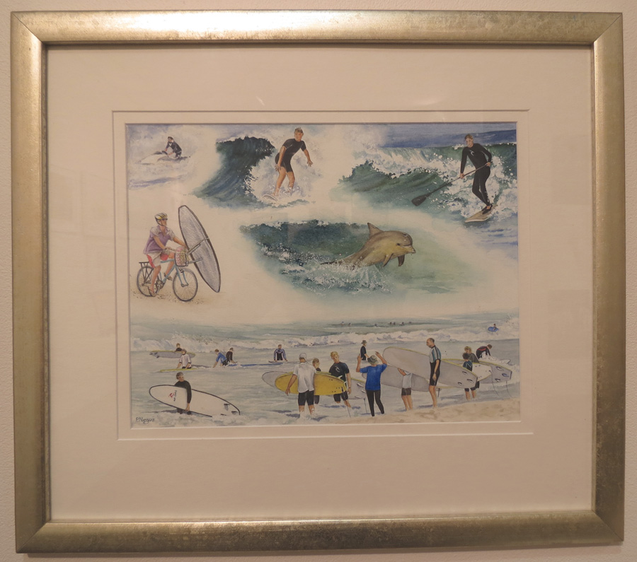 69.  Surfing at Rottnest  by Patricia Negus, watercolour, $550