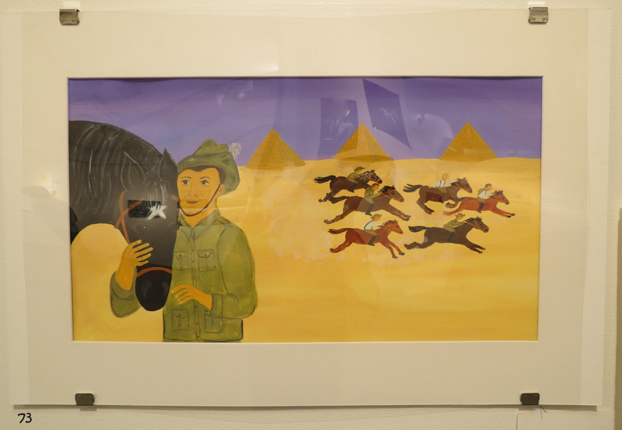 73.  Reunited  by Frane Lessac, gouache on paper, $895