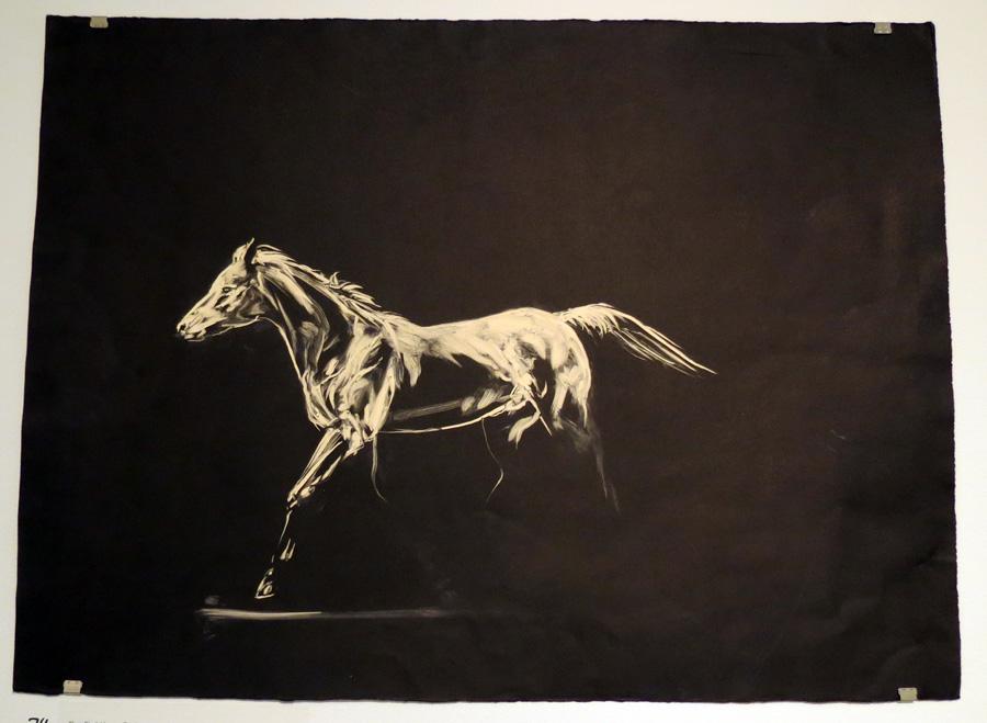74.  The First Horse Trots  by Den Scheer, monoprint, $310