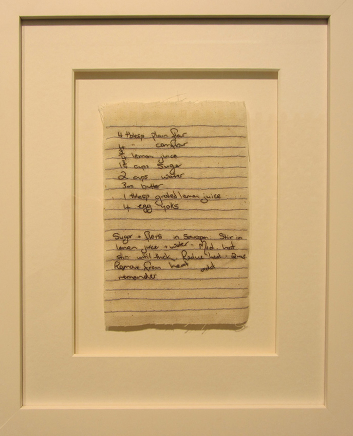 14.  Untitled  by Bonnie Boogaard hand embroidery on linen, $300