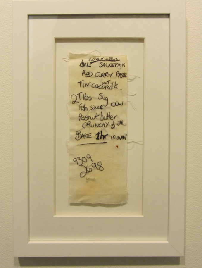 16.  Lovely Legs  by Bonnie Boogaard hand embroidery on dyed cotton, $270