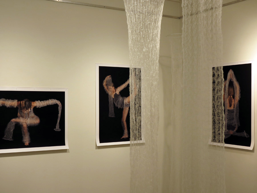 18.  Meditation on Form  (detail) installation by Anne Farren tubular knitted monofilament, photographic images on canvas (photographer Richard Jefferson, model Caitlin Farren) $5385