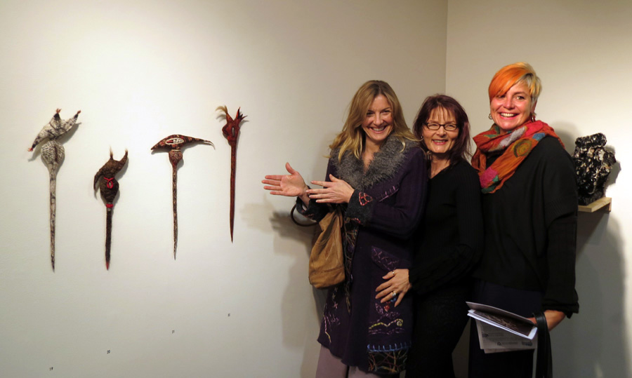 19 - 22. Katrina Virgona (centre) and friends with her works