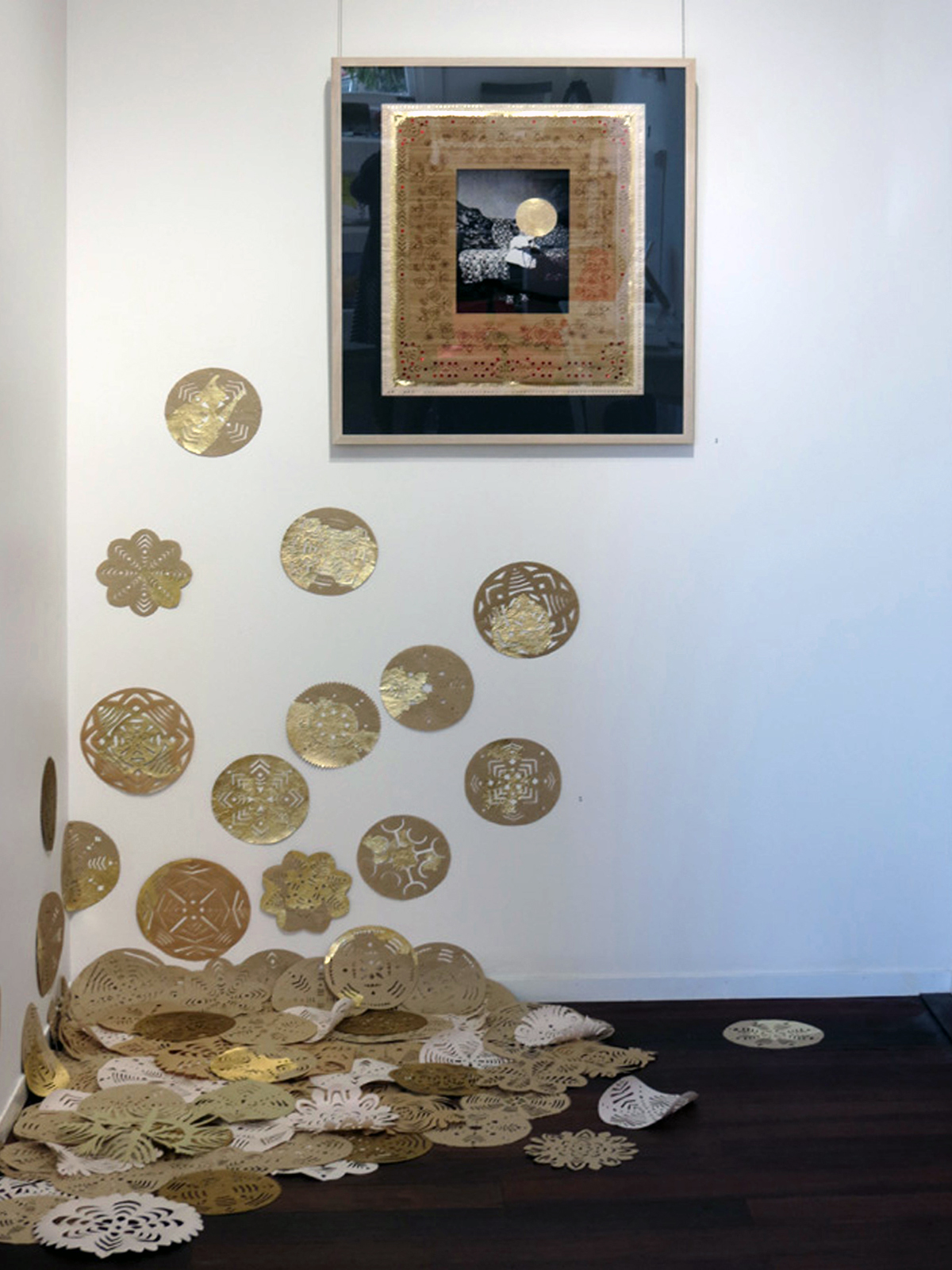 2 & 3.  The Original Place  papercuts and  Family Album 1 ,  Elisa Markes-Young, paper and mixed media