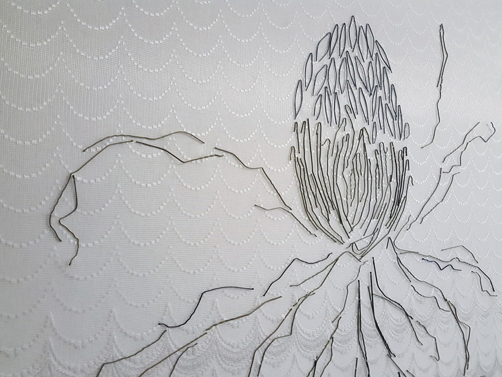 12.  Interior (banksia)  (detail), Neil Aldum, bed sheet, curtain, bobby pins, $700