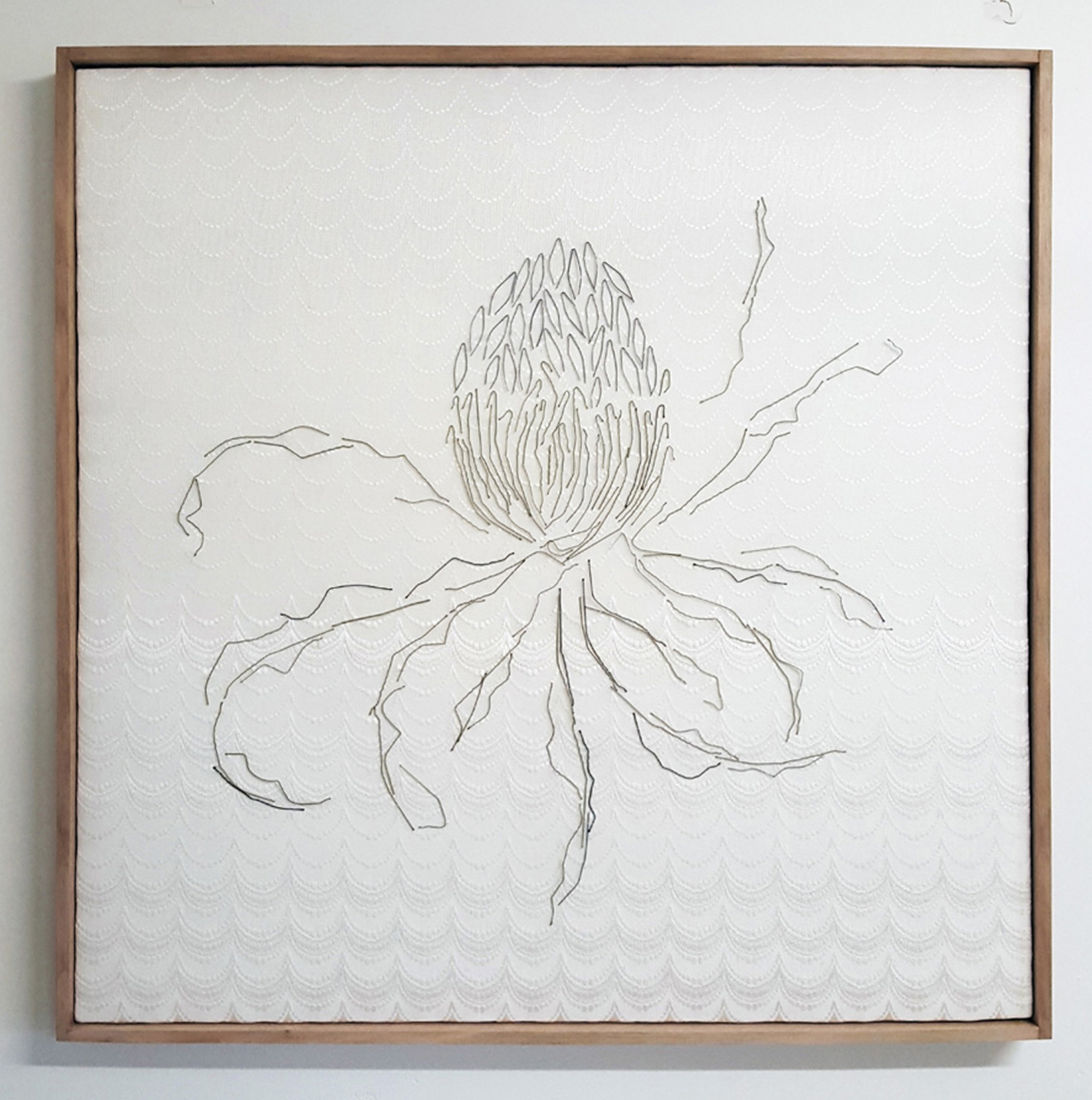 12.  Interior (banksia) , Neil Aldum, bed sheet, curtain, bobby pins, $700