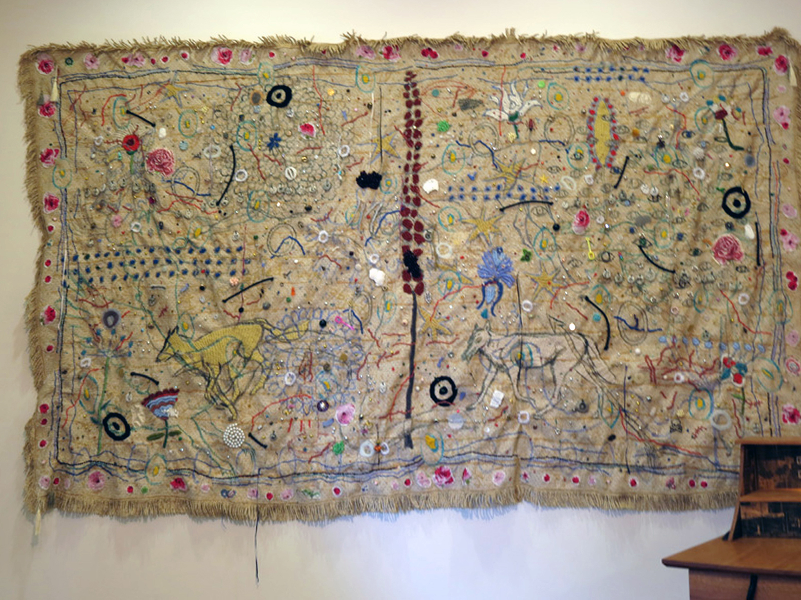 13.  I Am Filled With Objects , Susan Flavell, couch cover, mixed media, $5500