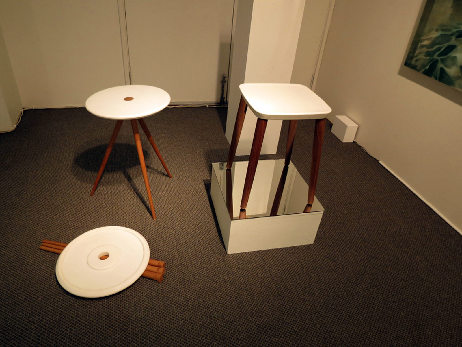 17.  .45,  Shannon Riddle, Corian, American Cherry table, $685  16.  Grain Stool , Jack Flanagan and Callum Campbell, cast aluminium, American Oak, $750
