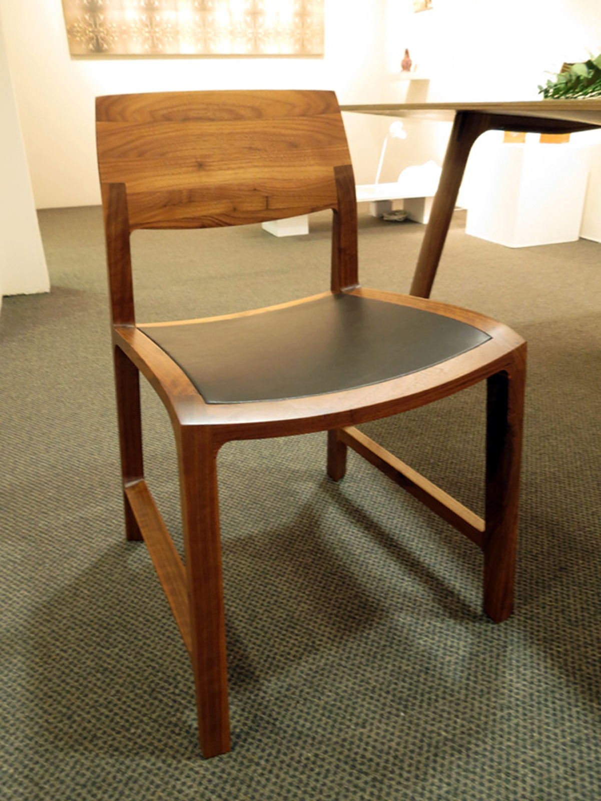 37.  Fletcher Chair , Adam Cruickshank, American Black Walnut, leather, $1300