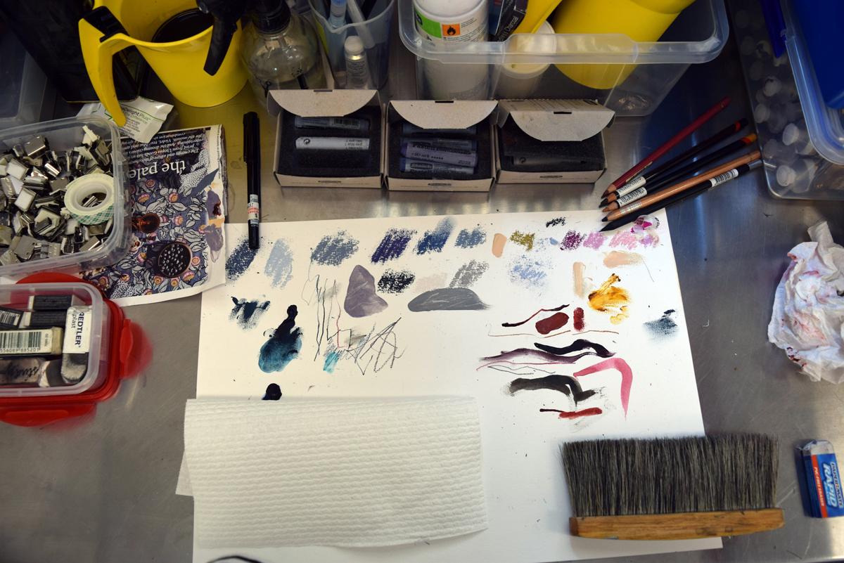 Gayle Mason, Artist in Residence, work bench