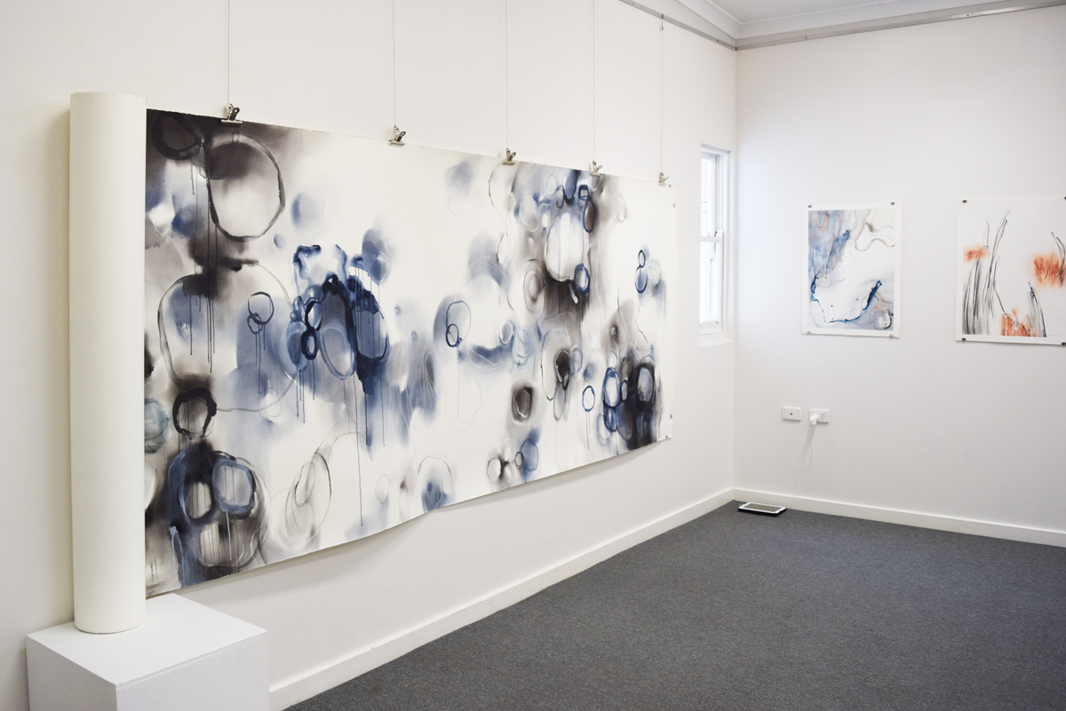 Threads,  Gayle Mason, mixed media on paper emaki, 10 metres long, $5000