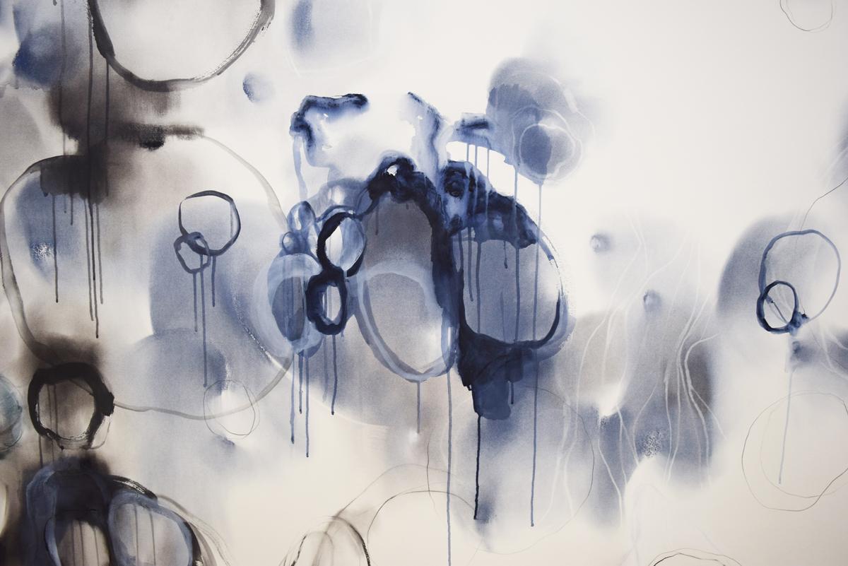 Threads  (detail) , Gayle Mason,mixed media on paper emaki,10 metres long, $5000