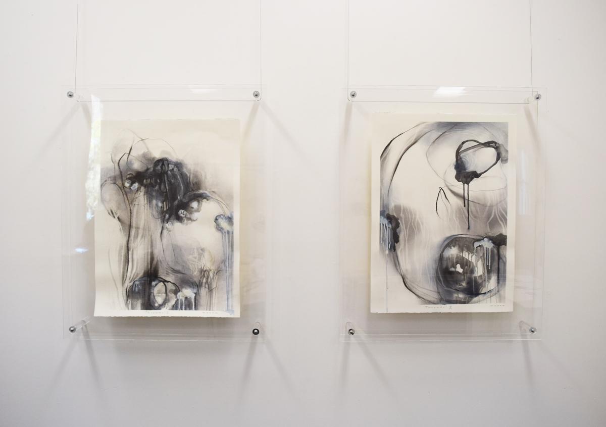 Threads i & ii, Gayle Mason,mixed media on paper, A1 framed, $800 each